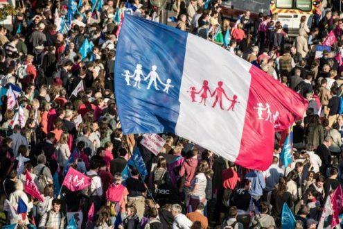 Manifestación contra matrimonio gay París