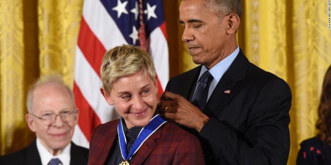 Ellen DeGeneres recibe la Medalla de la Libertad de Estados Unidos