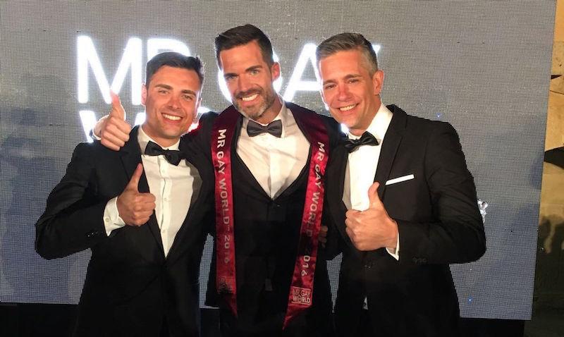 Roger Gosálbez, Mr. Gay World 2016 junto a Nano García y Juan Martin Boll