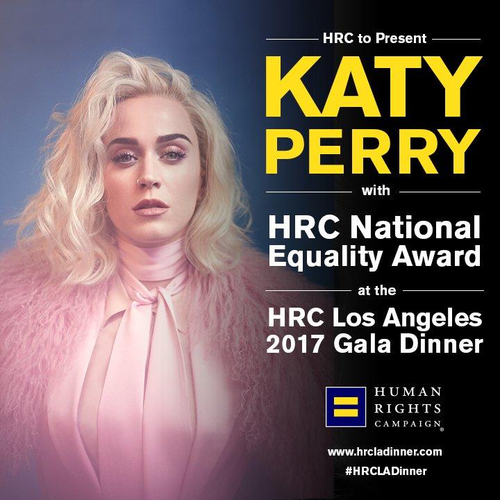 Katy Perry será premiada por su trabajo a favor del colectivo LGTB