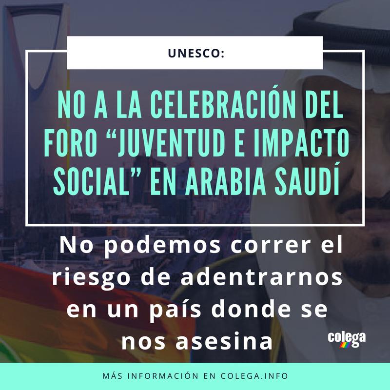 Colega y KifKif denuncian la celebración de un encuentro de la UNESCO en Arabia Saudí al que no podrán asistir personas LGBT