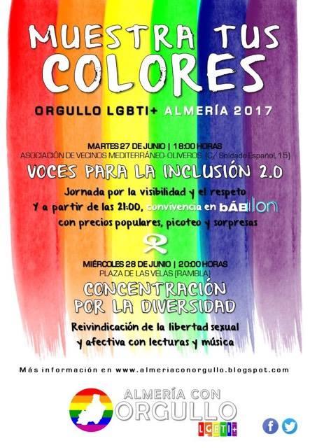 Bajo el lema MUESTRA TUS COLORES, Almería con Orgullo Lgbti+ ha programado dos actividades para reivindicar el Orgullo LGBTI+ en Almería.