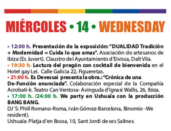 Programa del Ibiza gay pride