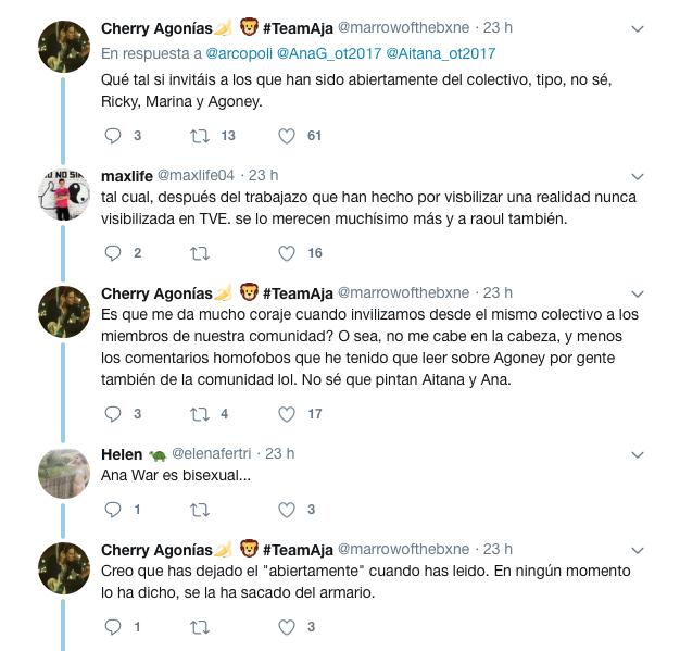 Arcopoli invita a Aitana y Ana War de OT al Pride 2018 y Twitter se divide