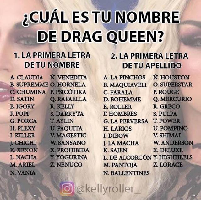 Qué nombre de Drag tendrías