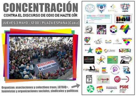 Las asociaciones LGTBI, feministas y en defensa de los derechos humanos de la provincia de Cádiz rechazan el nuevo intento de Hazte Oír de fomentar su discurso de odio.