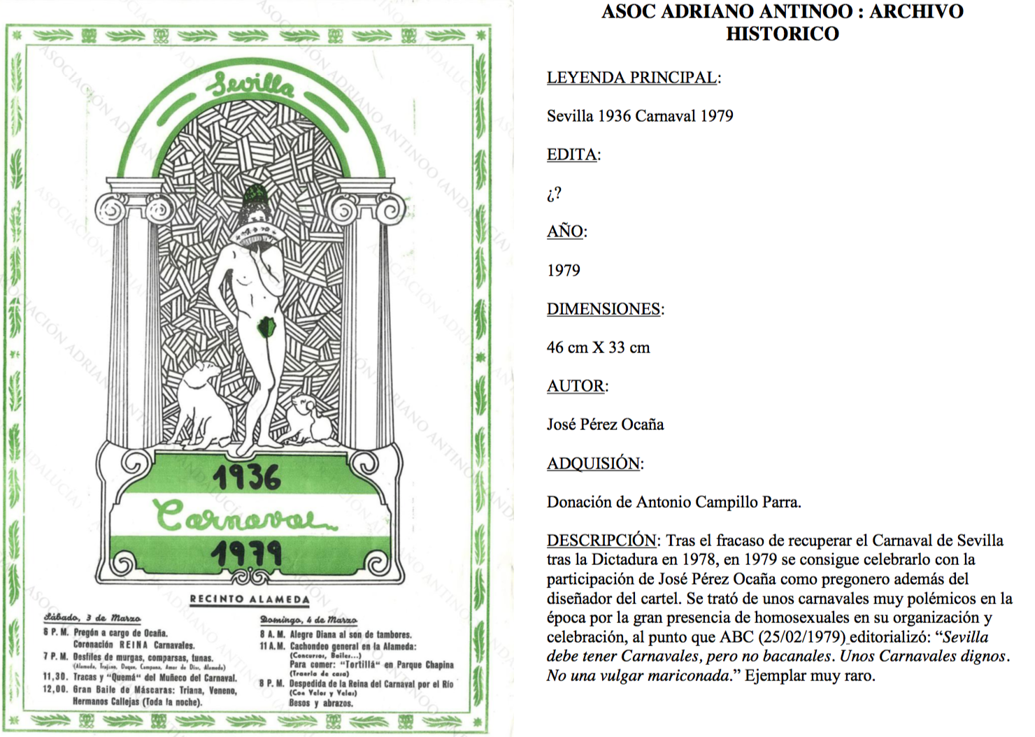 Movilizaciones homosexuales Adriano Antinoo