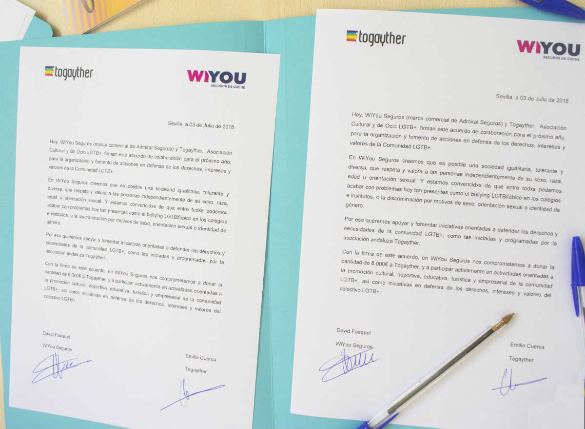 La marca de seguros ha donado 8.000€ a la Asociación Togayther para el fomento de actividades orientadas a la promoción de la educación en la diversidad, la cultura y los derechos de la comunidad LGTB+.