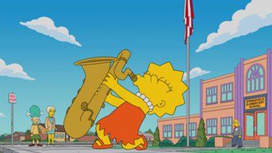 Lisa Simpson tocando el saxofón